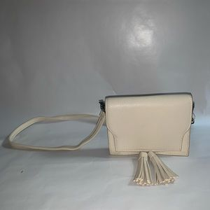 Cream small crossbody with removable strap